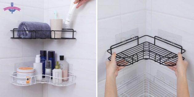 органайзеры для ванной: угловые полки