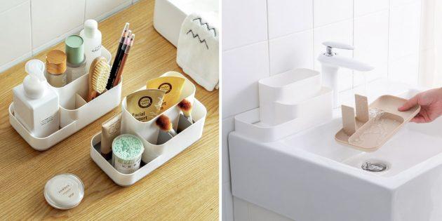 органайзеры для ванной со съёмным дном
