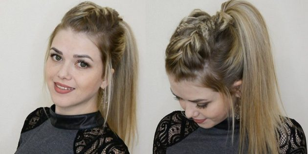 Женские причёски для круглого лица: коса-ирокез с объёмным хвостом