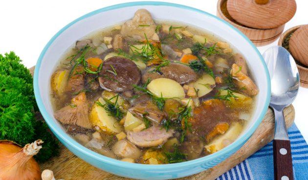 Суп из лесных грибов с овощами