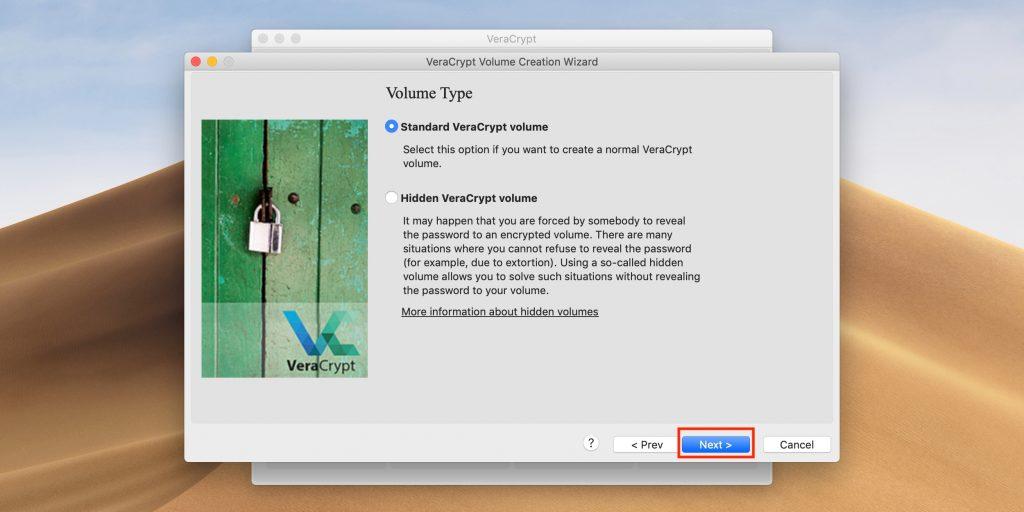 Как поставить пароль на флешку: выберите Standard VeraCrypt volume