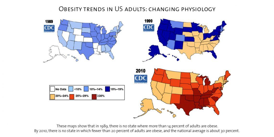 Антибиотики в продуктах: распространённость ожирения в разных штатах Америки