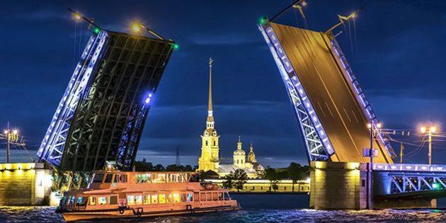 Ночной круиз под разводными мостами в Санкт-Петербурге