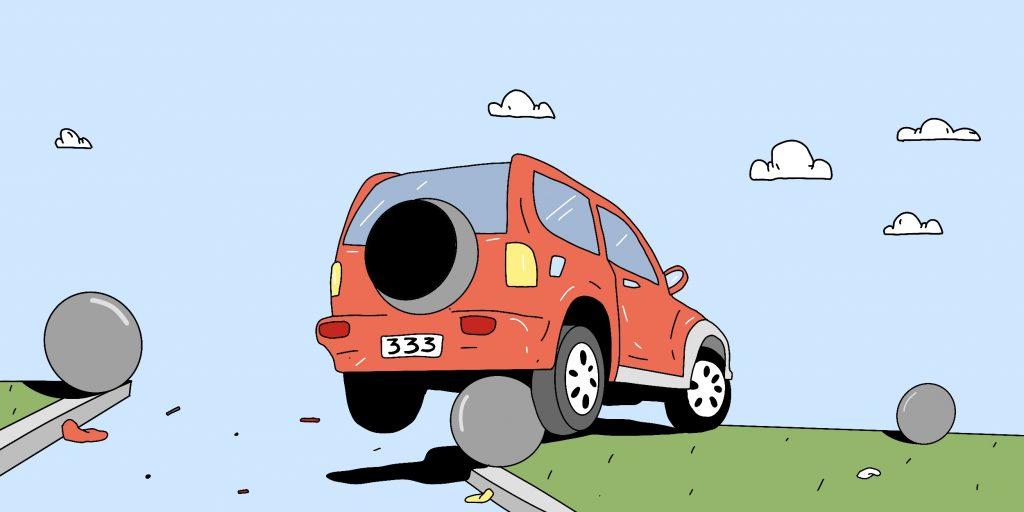 Ошибки водителей: ехать по обочине