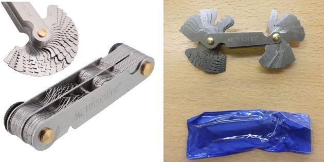 слесарные инструменты: метрический резьбомер