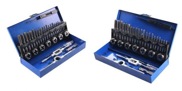слесарные инструменты: набор метчиков и плашек