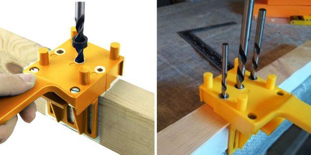 Товары для сборки мебели: Двухсторонний кондуктор шкантов и конфирматов