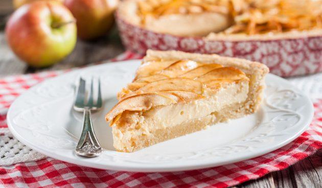 Пирог с творогом и яблоками на песочном тесте