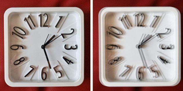 Слева — зрение здорового человека, справа — зрение взрослого человека с косоглазием