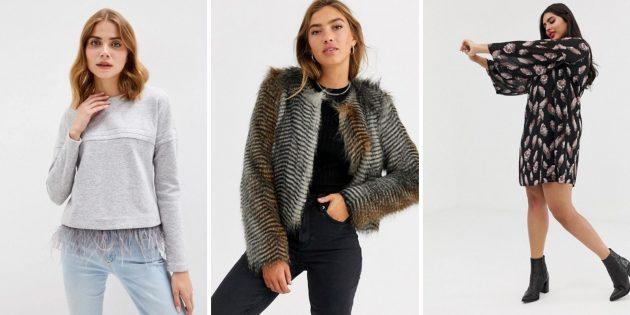 Женская мода, осень-2020: перья
