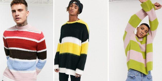 Мужская мода осени-2020: свитер в крупную полоску