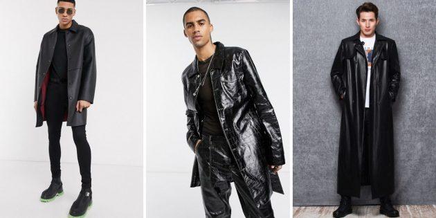 Мужская мода осени-зимы — 2020: удлинённое пальто из эко-кожи