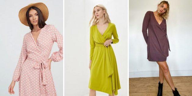 Модные платья осени-зимы 2020–2021: платья с запахом