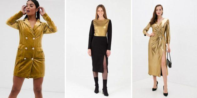 Модные платья зимы-2021: платья с золотом
