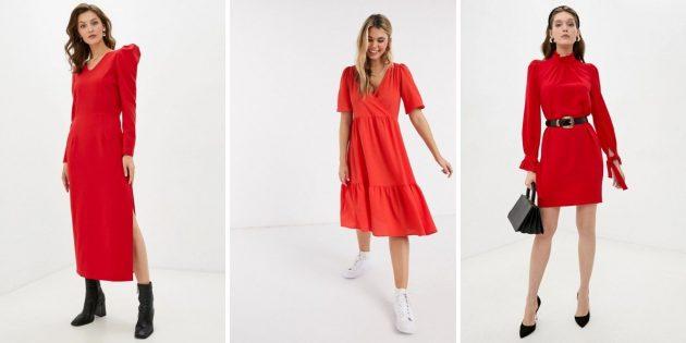 Модные платья зимы 2020–2021: красные платья