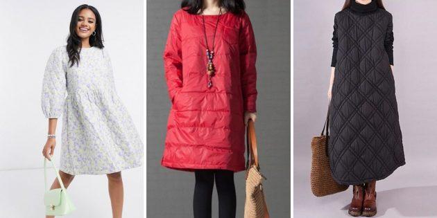Модные платья осени-зимы 2020–2021: «дутые» платья
