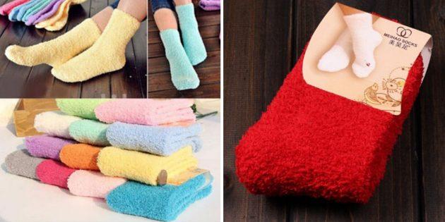 Тёплые однотонные носки