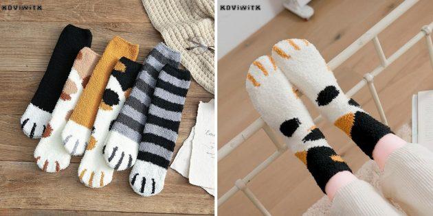 Утеплённые носки в виде лапок