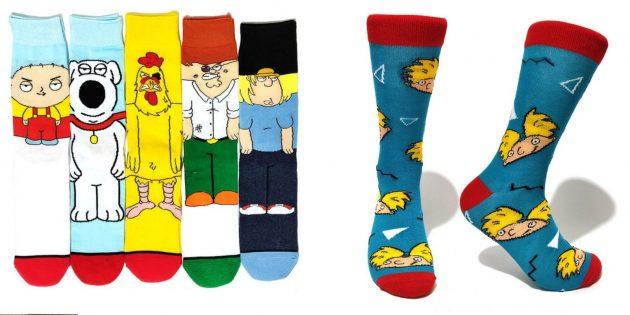 Весёлые носки с персонажами мультфильмов