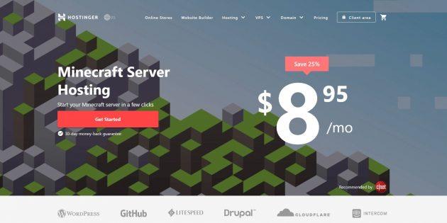 Хостинг серверов Minecraft Hostinger.com