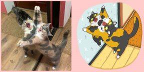 Художник перерисовывает фото котиков, ставших мемами. Вот 20 его работ