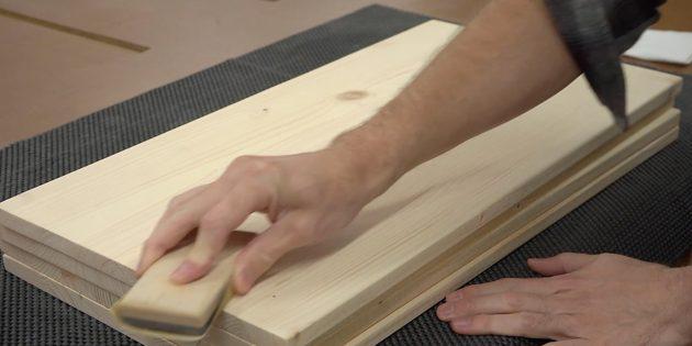 Как сделать стеллаж своими руками: зашлифуйте поверхность мебельных щитов