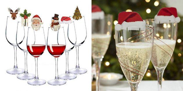 новогодние товары: украшения для бокалов