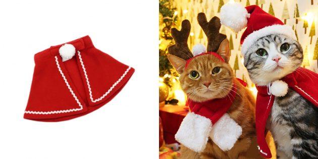 новогодние товары: тематические костюмы для кошек
