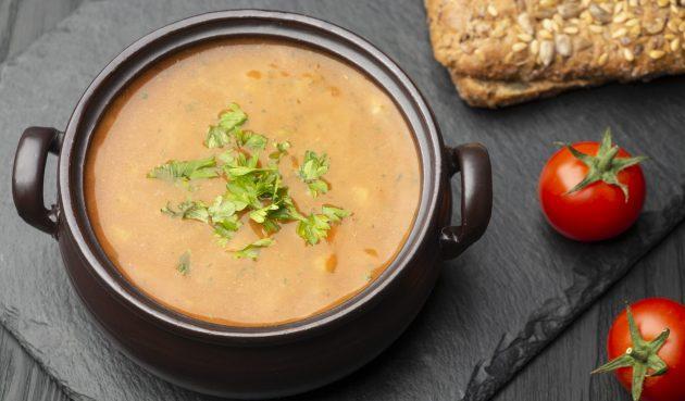 Тыквенный суп со сливками и мясом