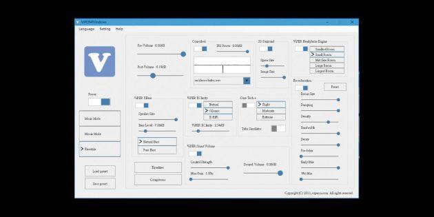 Эквалайзеры для Windows 10: Viper4Windows