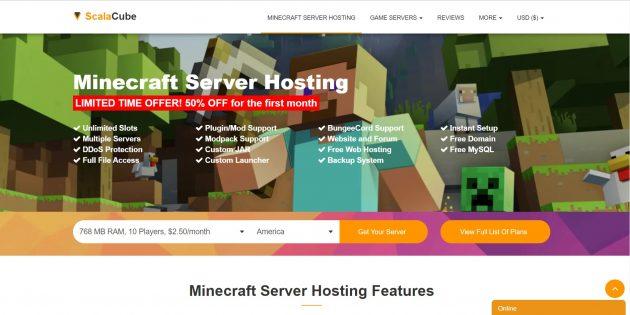 Хостинг серверов Minecraft ScalaCube (бывший PlayVDS)