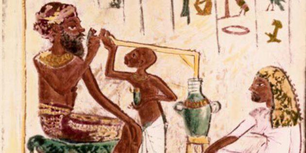 Египтянин времён Аменофиса IV со своим сыном и женой