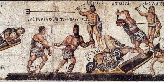 Гладиаторы на римской мозаике