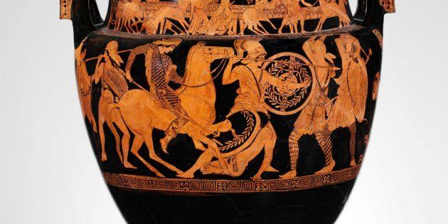 Древняя Греция: амазонки на древнегреческой вазе