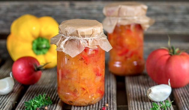 Салат из тыквы с помидорами и болгарским перцем на зиму