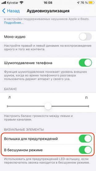 Как включить вспышку при звонке на iPhone: включите тумблеры «Вспышка для предупреждений» и «В бесшумном режиме»