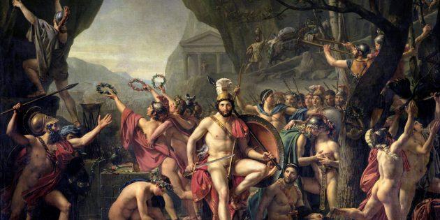 Леонид и спартанцы в Фермопильском ущелье на картине Давида
