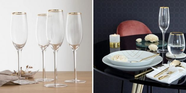 Фужеры для шампанского с золотистой каймой