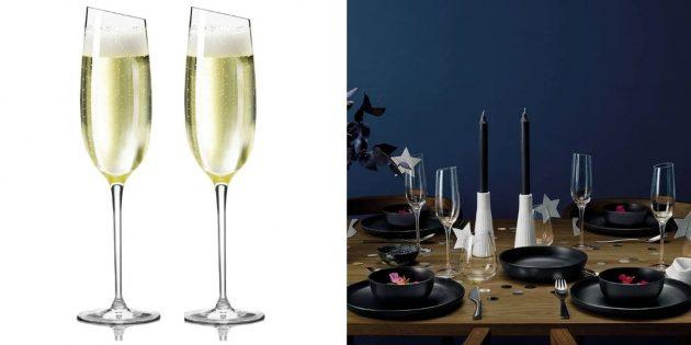 Фужеры для шампанского со скошенным краем
