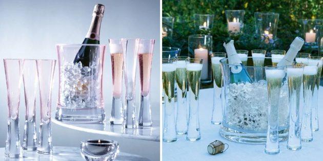 Фужеры для шампанского с утолщённым дном