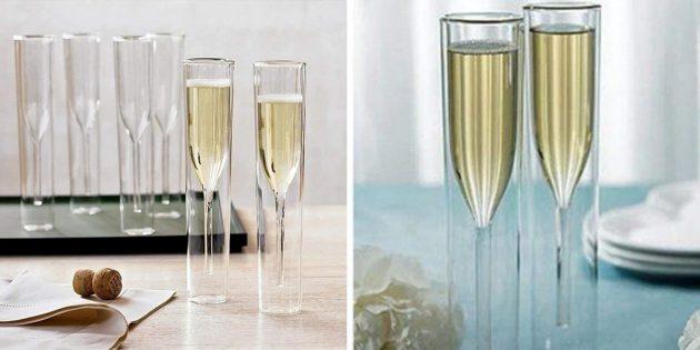 Фужеры для шампанского с двойными стенками