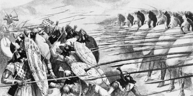 Спартанцы против персов в битве при Платеях