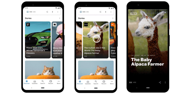 В мобильных приложениях Google появятся «истории»