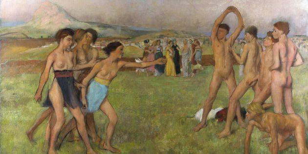 Картина Эдгара Дега «Юные спартанцы»