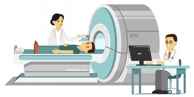 Для проведения КТ при коронавирусе пациента помещают в специальное устройство