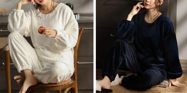 Уютная домашняя одежда с AliExpress: костюм с рельефным узором