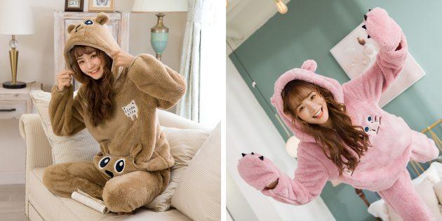 Уютная домашняя одежда с AliExpress: пижамный комплект с капюшоном