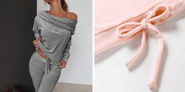 Уютная домашняя одежда с AliExpress: велюровая пижама с открытыми плечами