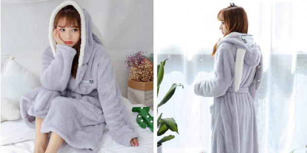 Уютная домашняя одежда с AliExpress: халат с кроличьими ушками