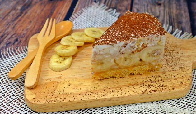 Нежный банановый торт без выпечки
